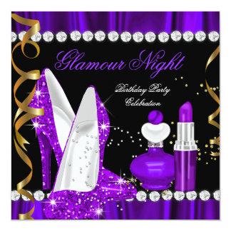 Glamour Night glitter Purple Gold Black Party 3 Card