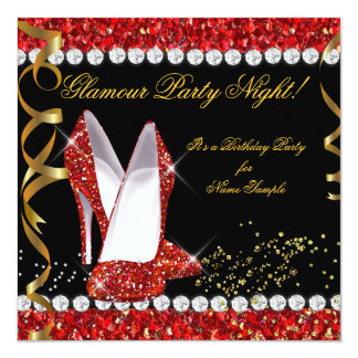 Glamour Party Night Red Glitter Gold Black Shoes Announcement