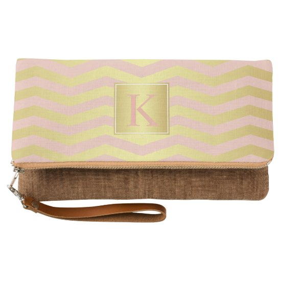 Glamour Pink and Gold Chevrons with Monogram Clutch