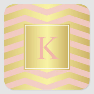 Glamour Pink and Gold Chevrons with Monogram Square Sticker