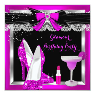 Glamour Pink Glitter Heels Silver Cocktail Party Card