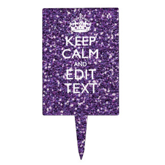 Glamour Purple Keep Calm Personalized Cake Topper