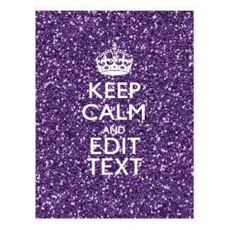 Glamour Purple Keep Calm Personalized Postcard