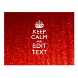 Glamour Red Festive Personalized Keep Calm Postcard
