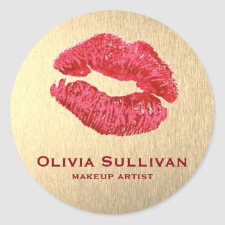 glamour red lips makeup artist on gold effect classic round sticker
