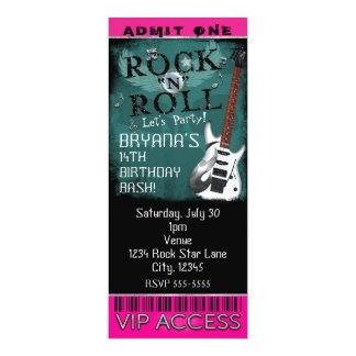 Glamour Rock N Roll Star Birthday Ticket VIP Party Card
