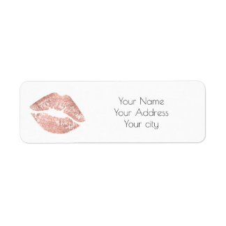 glamour rose gold lips label