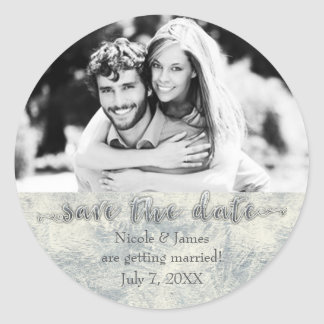 Glamour Silver White Winter Save The Date Photo Classic Round Sticker