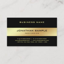 Glamour Stylish Black Gold Elegant Golden Plain Business Card