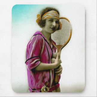 Glamour Tennis Flapper 1920's Vintage Mouse Pad