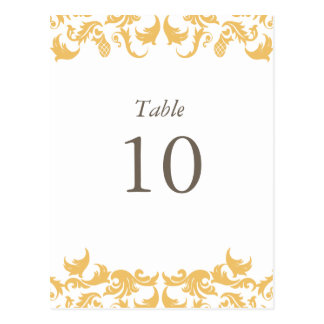Glamouros Gold Table Numbers Post Cards