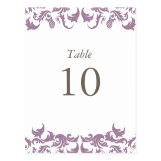 Glamouros Purple Damask Table Numbers Post Cards