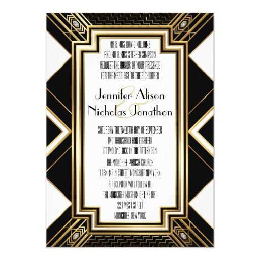 Glamourous Art Deco Geometric Wedding Invitation