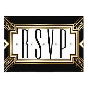 Truly_Uniquely Glamourous Art Deco Geometric Wedding RSVP Card