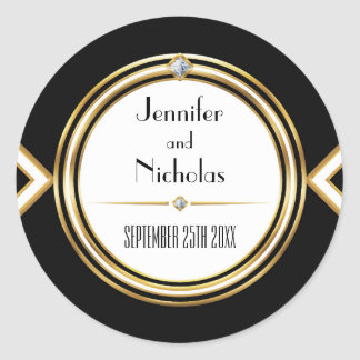 Glamourous ArtDeco Geometric Wedding Envelope Seal Classic Round Sticker