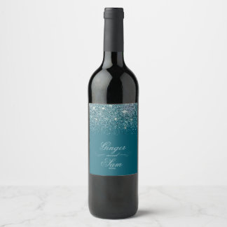 Glamourous Glitter, Teal Wine Label