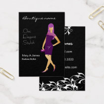 glamourous purple fashion boutique business card