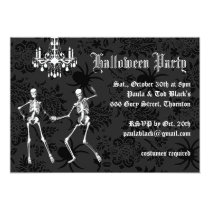 Glamourous Skeletons Halloween Costume Party Card