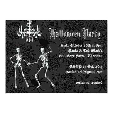prettyfancyinvites Glamourous Skeletons Halloween Costume Party Card