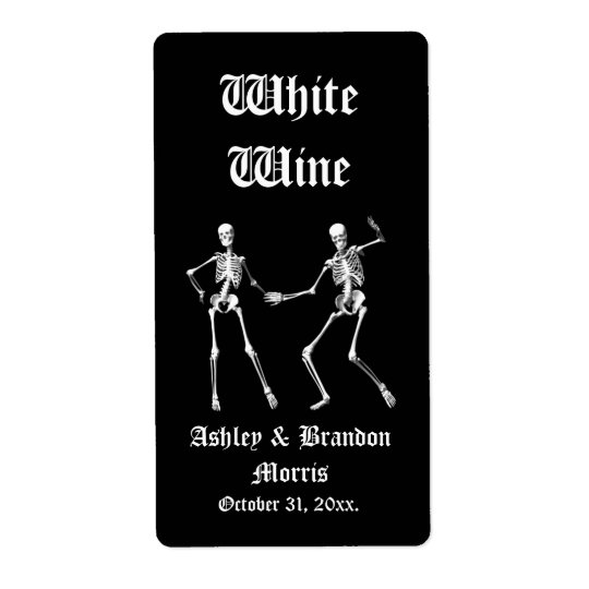 Glamourous Skeletons Wedding Wine Label