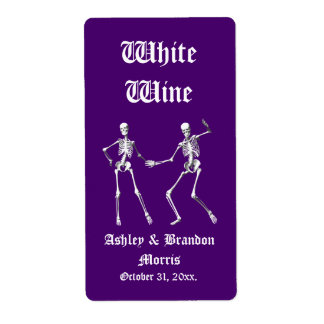 Glamourous Skeletons Wedding Wine Label (purple)