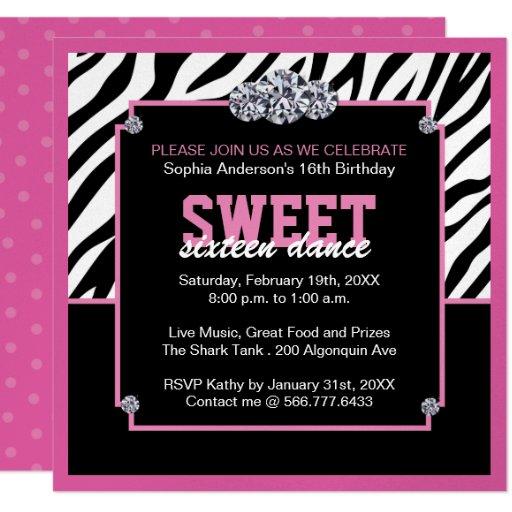 Glamourous Sweet Sixteen Birthday Party Invitation