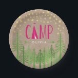 "Glamping Birthday Party Paper Plate<br><div class=""desc"">A rustic yet chic personalized paper plate for a &quot;Glamping&quot; themed party complete with a tent in a forest of trees under faux foil gold stars.</div>"