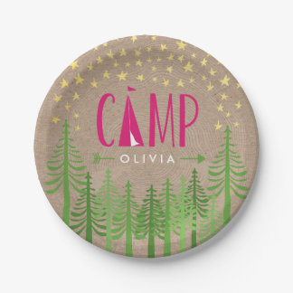 Glamping Birthday Party Paper Plate 7 Inch Paper Plate