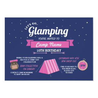 Glamping Camping Navy Pink Girl's Invitation