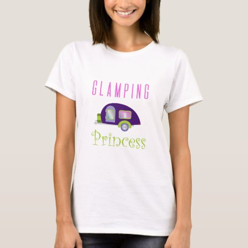 Glamping Princess Camping in Style Purple Camper T_Shirt