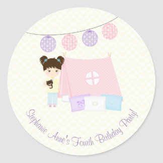 Glamping Sleepover Party Classic Round Sticker
