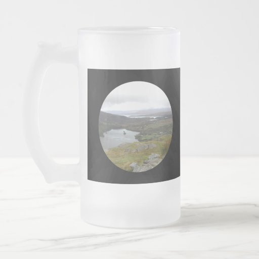 Glanmore Lake from Healy Pass Ireland. Round. 16 Oz Frosted Glass Beer Mug