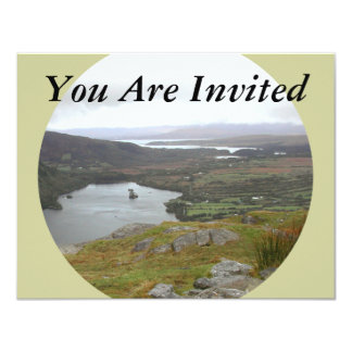 Glanmore Lake from Healy Pass Ireland. Round. Card