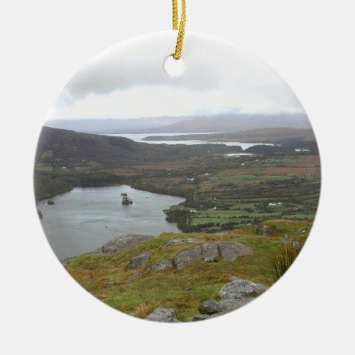 Glanmore Lake from Healy Pass Ireland. Round. Ceramic Ornament