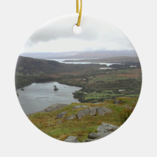 Glanmore Lake from Healy Pass Ireland. Round. Double-Sided Ceramic Round Christmas Ornament