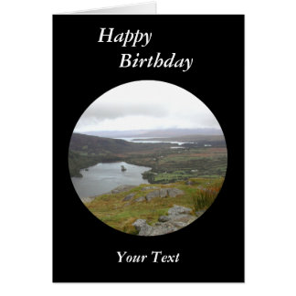 Glanmore Lake from Healy Pass Ireland. Round. Greeting Card