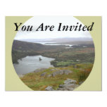 """Glanmore Lake from Healy Pass Ireland. Round. 4.25"""" X 5.5"""" Invitation Card"""