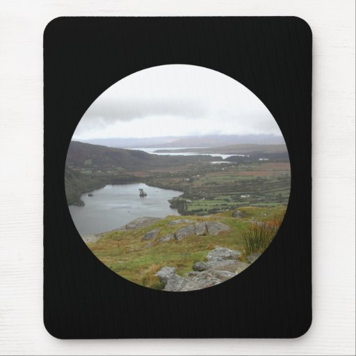 Glanmore Lake from Healy Pass Ireland. Round. Mousepad