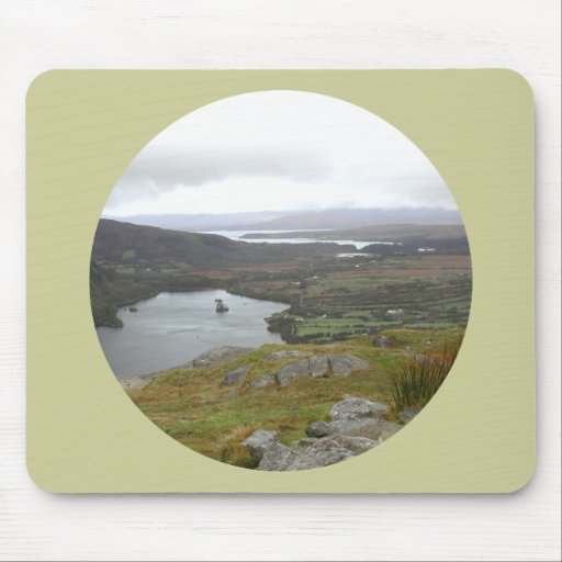 Glanmore Lake from Healy Pass Ireland. Round. Mouse Pad