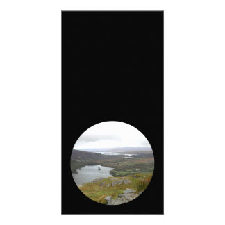 Glanmore Lake from Healy Pass Ireland. Round. Customized Photo Card