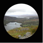 Glanmore Lake from Healy Pass Ireland. Round. Acrylic Cut Out