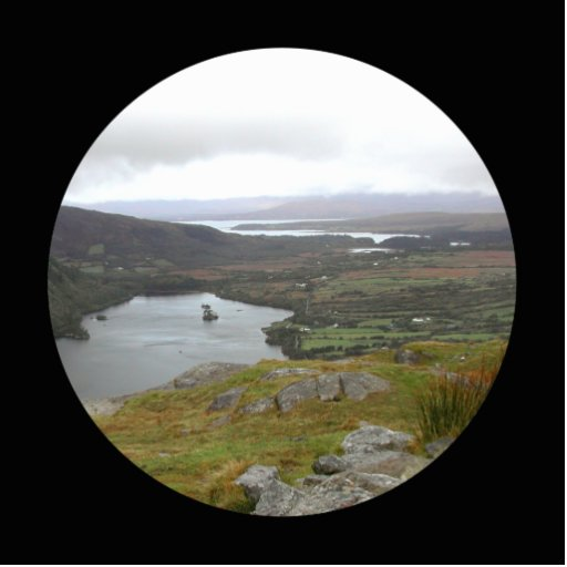 Glanmore Lake from Healy Pass Ireland. Round. Standing Photo Sculpture