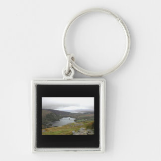 Glanmore Lake from Healy Pass Ireland. Silver-Colored Square Keychain