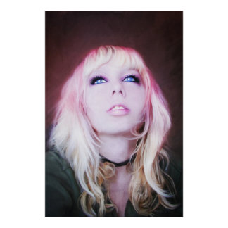 Glare, beautiful sensual woman girl portrait art poster