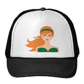 glaring red head trucker hat