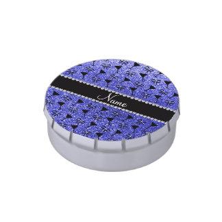Glas azules de neón conocidos personalizados del frascos de caramelos