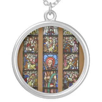 Glas-mosaik church silver plated necklace
