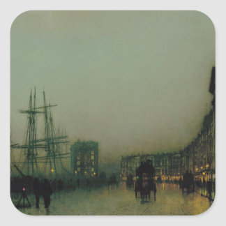 Glasgow cauta de Juan Atkinson Grimshaw Pegatina Cuadrada