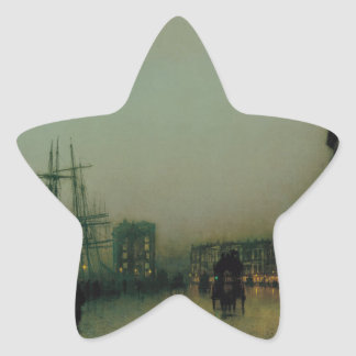 Glasgow cauta de Juan Atkinson Grimshaw Pegatina En Forma De Estrella