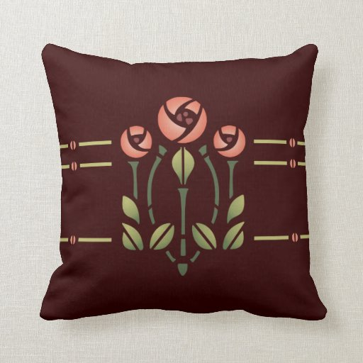 Glasgow Rose Stencil- Choose your background! Throw Pillow ...